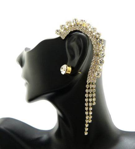 Dangling Rhinestone Ear Cuff with Stud Earring in Gold-Tone ECM682GCL