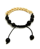 Hip Hop Rapper's Style 10mm Iced Out Cuban Link and 8mm Black Stone Bead Adjustable Knotted Bracelet, Gold-Tone, XB446G