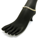 "Women's 7mm 10"" Iced Out Figaro Chain Anklet in Gold-Tone"