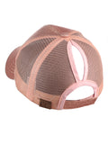 C.C Ponycap Messy High Bun Ponytail Adjustable Glitter Mesh Trucker Baseball Cap, Rose Gold