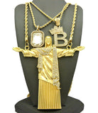 Gemstone, Tilted Crown Initial B, Christ the Redeemer Pendant Set w/ Rope Chains in Gold-Tone