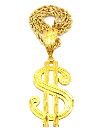 "Large Gold-Tone Dollar Sign $ Pendant with 8mm 30"" Rope Chain Necklace in Gold-Tone"