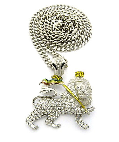 "Iced Out Rasta Lion Pendant 6mm 36"" Miami Cuban Link Chain Necklace in Silver-Tone"