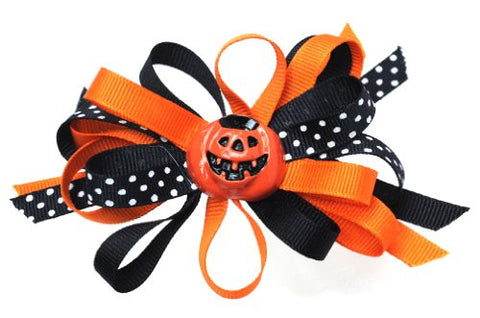 Halloween Style Dotted Ribbon Pumpkin Handmade Hair Clip MADE IN USA BC3034-1