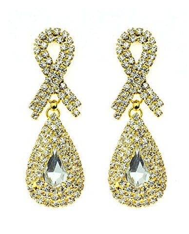 Rhinestone Studded Ribbon & Teardrop Pattern Clear Gemstone Dangling Pierced Earrings in Gold-Tone