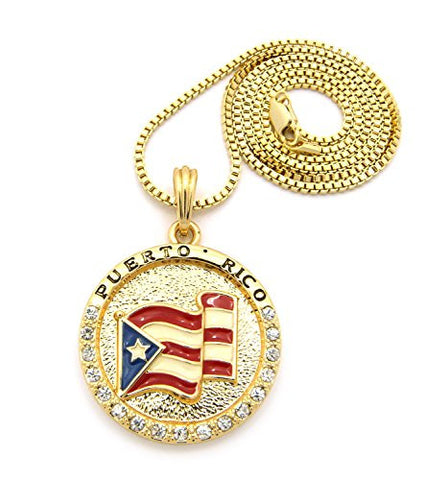 "Flag of Puerto Rico Pride Rhinestone Medal Pendant 24"" Box Chain Necklace - Gold-Tone XSP085GBX"