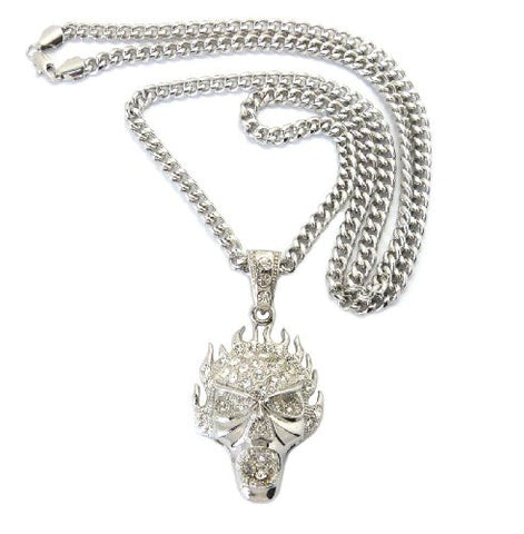 "Flaming Skull Pendant in Silver Tone w/ 6mm 36"" Miami Cuban Chain CP36R"