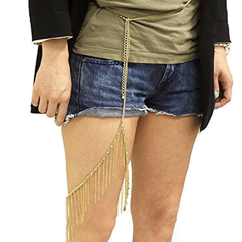 Linked Thigh Chain Lace Fashion Waist Belt in Gold Tone JC2009GD