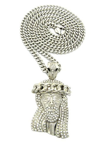 "Cuban Crown Stone Stud Jesus Head Pendant 6mm 36"" Miami Cuban Chain Necklace in Silver-Tone"