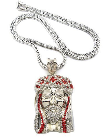 "Red/Clear Silver Tone Jesus Pendant w/ 36"" Franco Chain MP474R-RDCR"