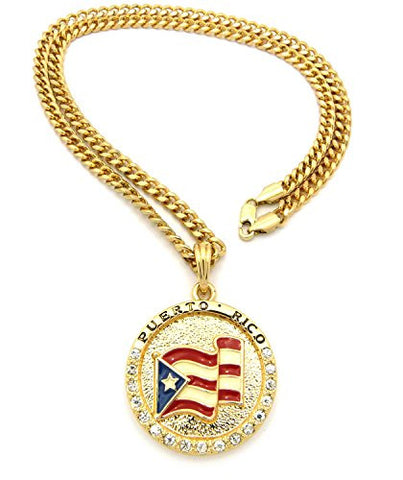 "Flag of Puerto Rico Pride Rhinestone Medal Pendant 24"" Cuban Chain Necklace - Gold-Tone XSP085GCC"