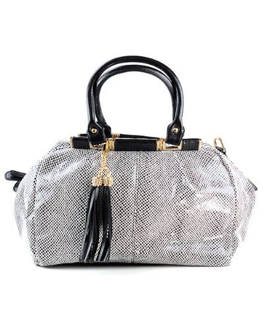 NYfashion101 (TM) Snake Print Lg Shiny Shoulder Bag w/Fringe Accent Hangbag EET01