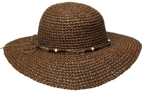 Women's Straw Paper Wide Floppy Hat W/Beans Band F1185
