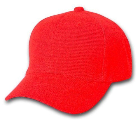 Plain Adjustable Velcro Hats (Many Colors Available), Red
