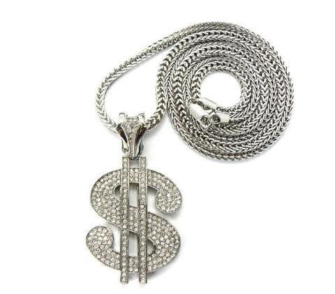"Iced Out Dollar $ Sign Pendant with 36"" Franco Chain Necklace - Silver-Tone MP431R"