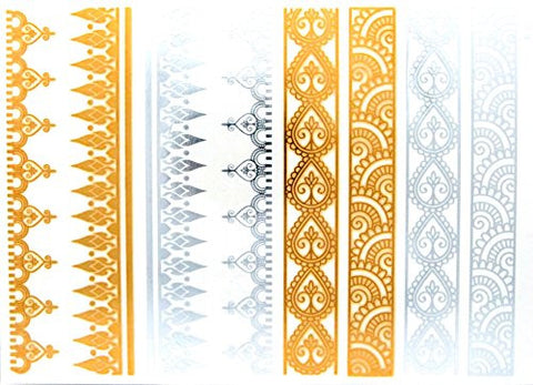 Indian Style Filigree Metallic Sticker Tattoo in Gold/Silver-Tone (4 Sheets)
