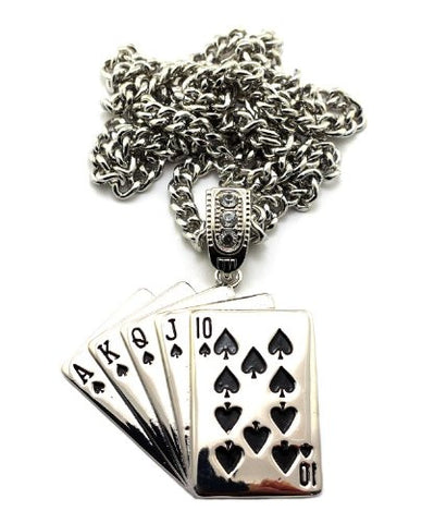 "Playing Card Pendant in Silver Tone w/ 6mm 36"" Miami Cuban Chain CP114R"