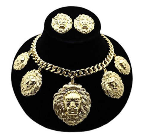 "5 Piece Lion Head Charm Pendant 16"" Necklace with Earrings"
