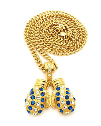 "Rhinestone Studded Boxing Gloves Pendant 6mm 36"" Cuban Link Chain Necklace - Blue/Gold-Tone"