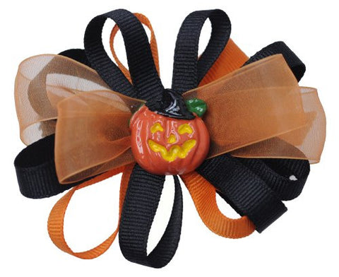 Halloween Style Ramie Ribbon Pumpkin Handmade Hair Clip MADE IN USA BC6035-2