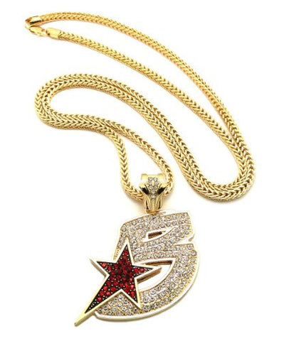 "Iced Out Black Wall Street Pendant 36"" Franco Chain Hip Hop Necklace in Gold-Tone XP905G"