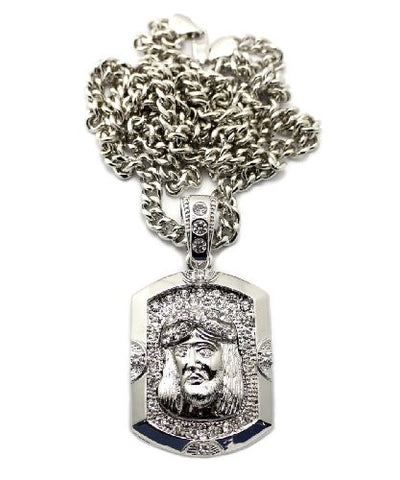 "Jesus Sculpture Pendant in Silver Tone w/ 6mm 36"" Miami Cuban Chain CP81R"