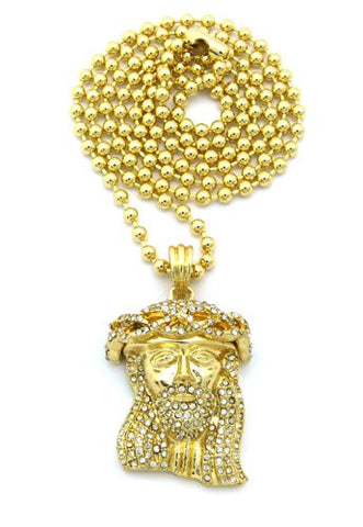 "Paved Crown of Thorns Jesus Micro Pendant w/ 27"" Ball Chain - Gold Tone MMP47GBC"