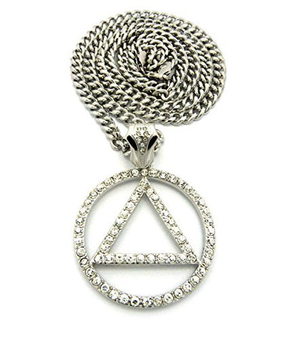 "Pave Triangle in Circle Rapper Pendant 6mm 36"" Cuban Link Chain Necklace in Silver-Tone"