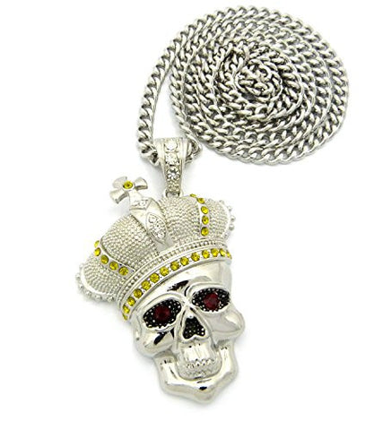 "Royal Crown Skull Head Pendant with 6mm 36"" Cuban Link Chain - Yellow/Silver-Tone"