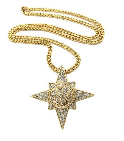 "Iced Out 5 Percenter Pendant with 36"" Miami Cuban Chain Necklace in Gold-Tone CP118G"