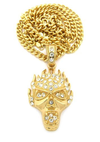 "Flaming Skull Rhinestone Studded Pendant w/ 36"" Cuban Chain - Gold Tone CP135G"