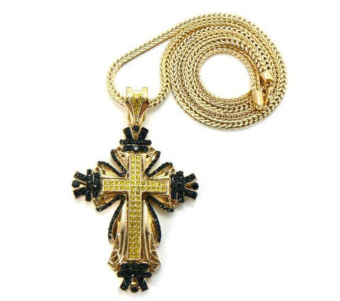 "Gold/Black/Yellow Tone Medieval Style Cross Pendant w/ 36"" Franco Chain"