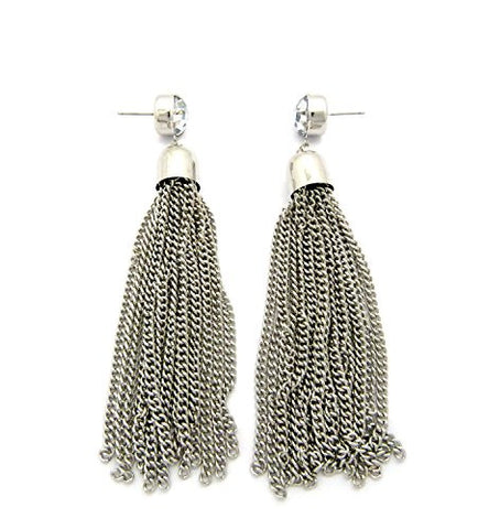 Chain Tassel Rhinestone Charm Drop Earrings in Silver-Tone