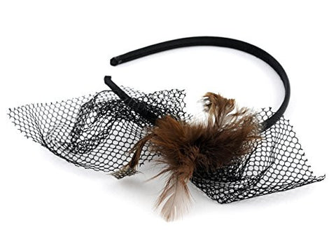 NYfashion101 Polka Dot Feather Lace Net Accent Satin Covered Wire Metal Headband