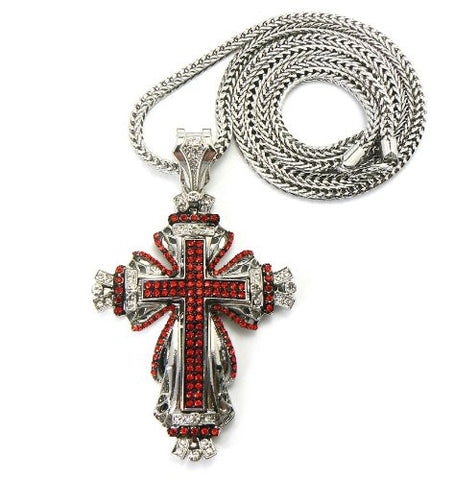 "Silver/Red Tone Medieval Style Cross Pendant Necklace w/ 36"" Franco Chain"
