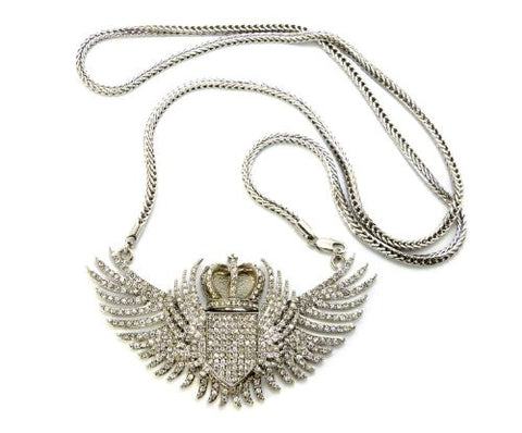 "Iced Out Crown Wing Pendant in Silver Tone w/ 36"" Franco Chain MHP9R"
