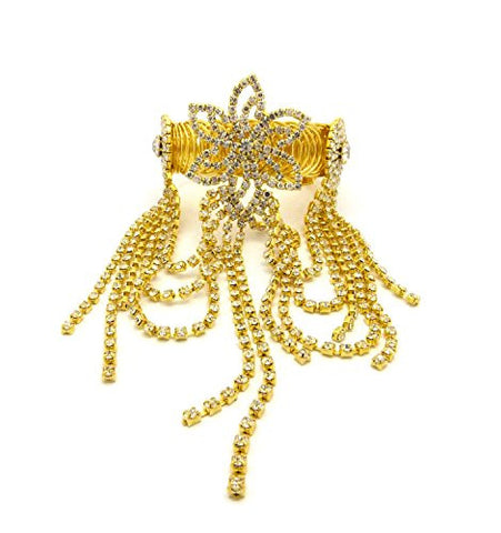 Flower Charm Rhinestone Pave Arm Band, Ankle Cuff, Bracelet Fashion Jewelry in Gold-Tone