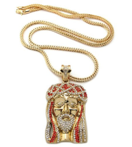 "Red/Clear Gold Tone Jesus Pendant w/ 36"" Franco Chain MP474GRD"