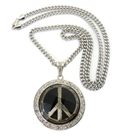 "Peace Sign Pave Faceted Stone Pendant in Silver Tone w/ 36"" Cuban Chain CP44R"