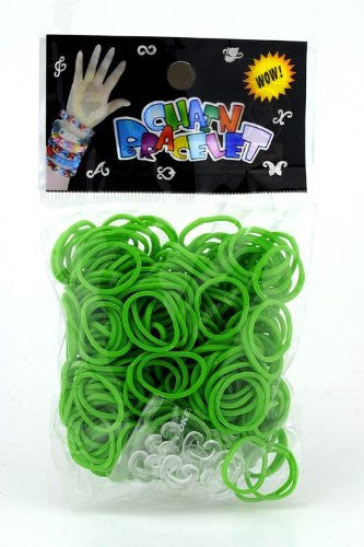 Refill for Loom Rubber Bands & Clips 600 Bands & 24 S-Clips Green