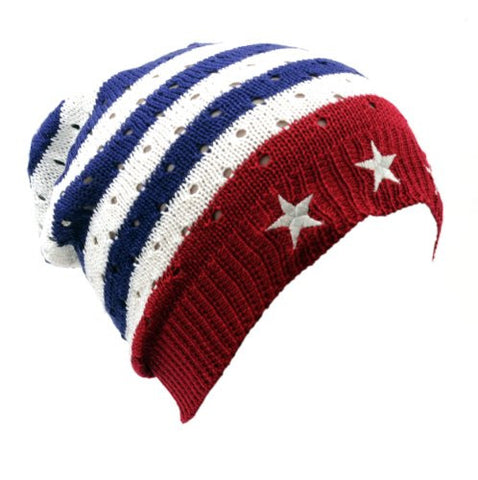 NYfashion101 Lightweight Unisex Vented Skull Hat Slouch Flag Beanie by D&Y