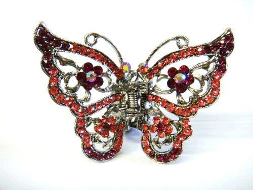 Top Quality Womens Rhinestone Jumbo Butterfly Metal Claw Hair Clip Antique Silver 6 Colors