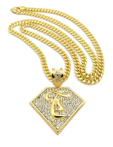"Initial T Iced Out Rapper Pendant w/ 36"" Mami Cuban Chain - Gold Tone XP938GMC"
