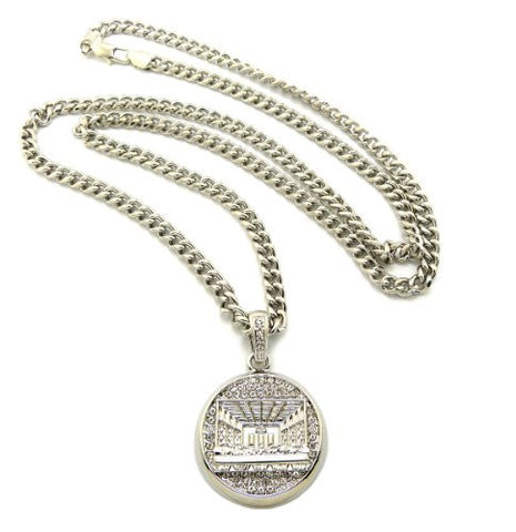 "Paved Round Last Supper Pendant in Silver Tone w/ 36"" Cuban Chain CP117R"