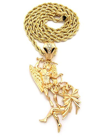 "Battle of the Angels St. Michael the Archangel Pendant 5mm 30"" Rope Chain Necklace"