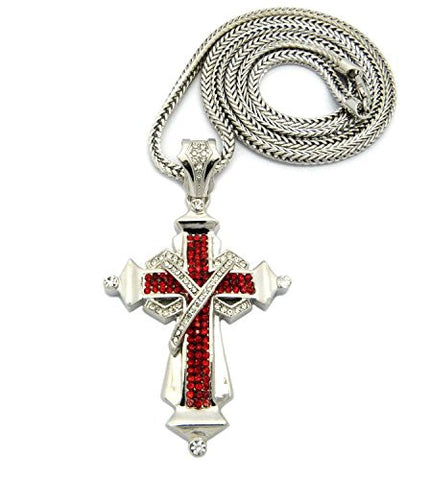 "Pave Cross Necklace with 4mm 36"" Franco Chain - Red/Silver Tone MLP039RRD"