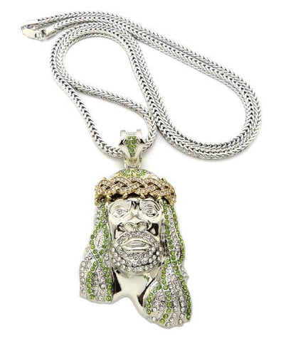 "Crown of Thorns Jesus Paved Pendant with 36"" Franco Chain Necklace - Lime/Clear Silver-Tone MP449R-LMCR"