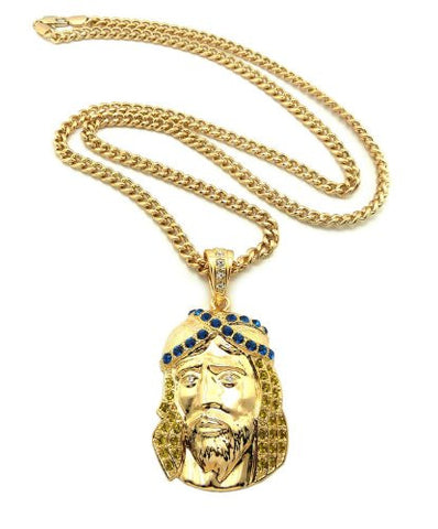 "Iced Out Jesus Pendant in Yellow/Blue Gold Tone w/ 36"" Cuban Chain CP31GYLBL"