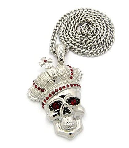 "Royal Crown Skull Head Pendant with 6mm 36"" Cuban Link Chain - Red/Silver-Tone"