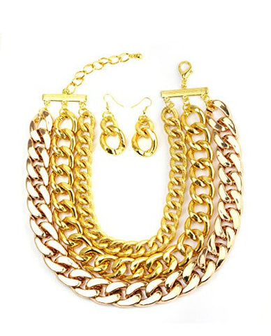 Tri-Link Chain Choker Necklace with Earrings in Gold-Tone ICN1008G